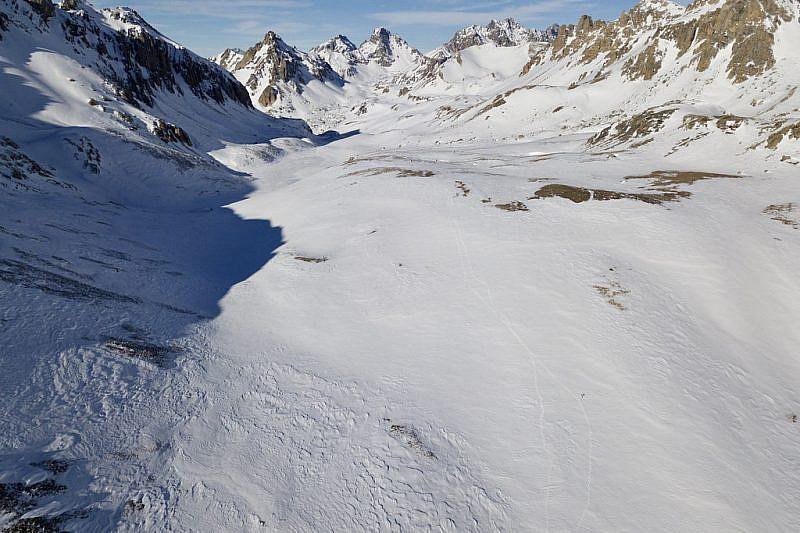Veduta del vallone Oronaye dal drone