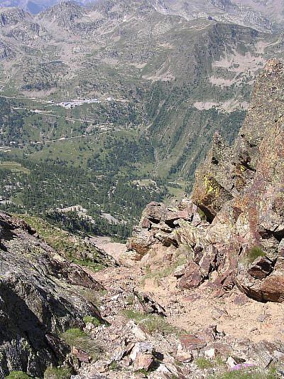Il canalone visto dalla cresta