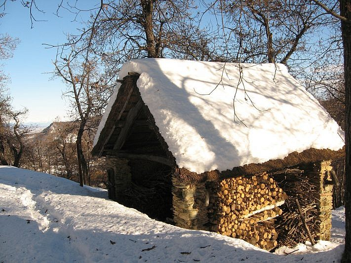 Una casa con tetto in paglia