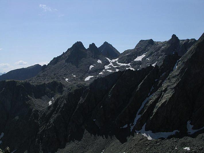 Le tre cime di Schiantalà viste dalla selletta