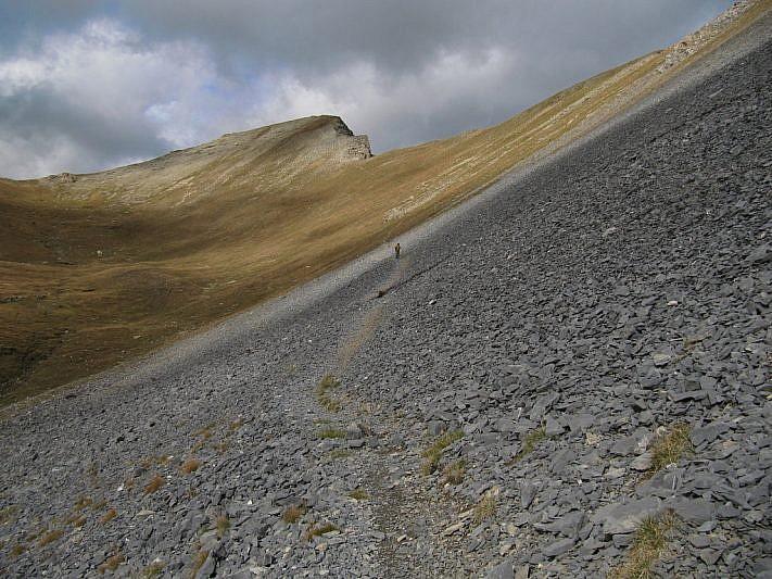 Il Monte Soubeyran visto durante la discesa al Passo della Cavalla