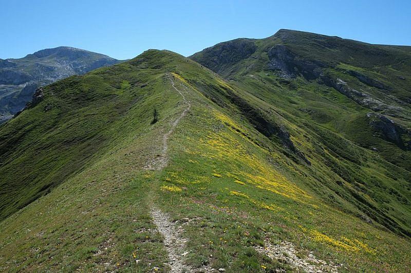 Il crinale che porta verso il Mongioie (ultimo monte a sinistra)