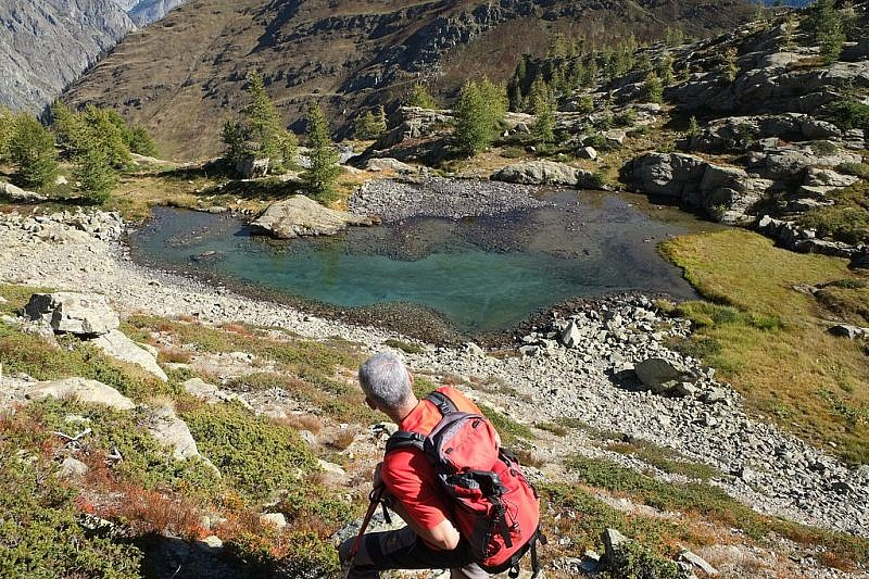 Il lago Scolettas che lasciamo alle nostre spalle
