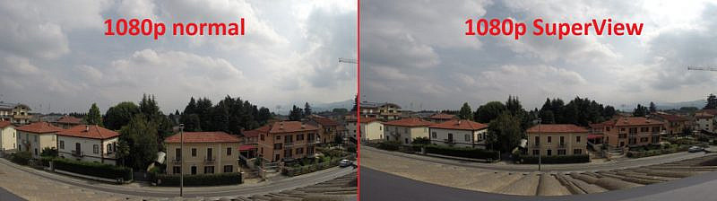 Confronto tra la modalità 1080p normale (a sinistra) e 1080p SuperView (a destra)