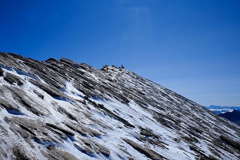 La cima Salza e il tratto insidioso sul verglas