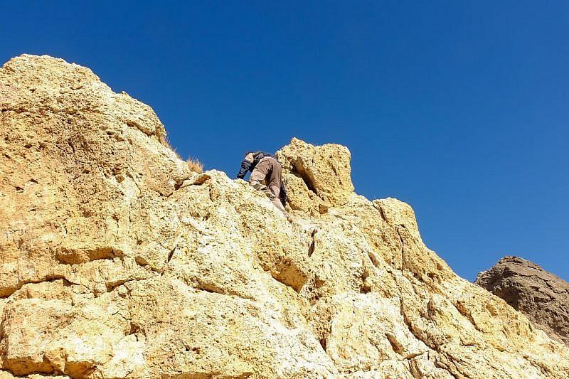 Massimo in arrampicatasulla cima