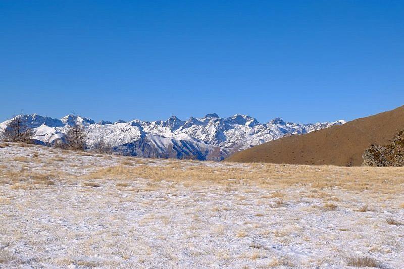 Arrivo sulla cresta; al di là le alte cime della valle Roya