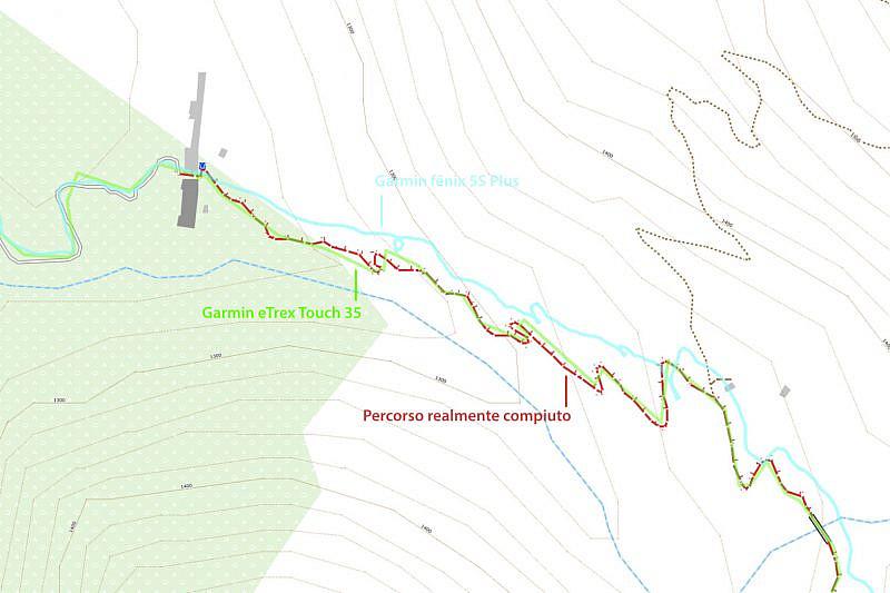 Durante la salita al rifugio Pagarì: a differenza del Garmin eTrex Touch 35 la traccia del fēnix 5S Plus è stata decisamente poco precisa