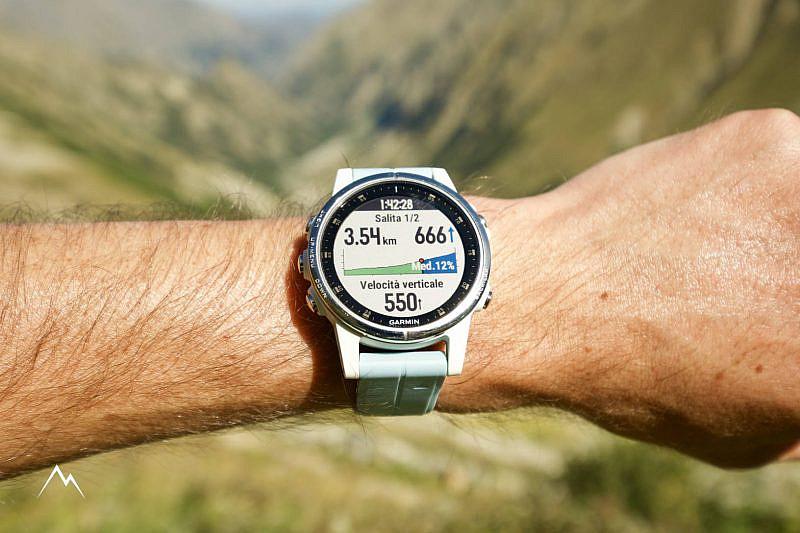 La nuova funzionalità ClimbPro. 550 è la velocità verticale espressa in metri/h, 3,54 km e 666 metri di dislivello sono quelli che devo ancora fare per arrivare al termine di questa salita (la prima di due).