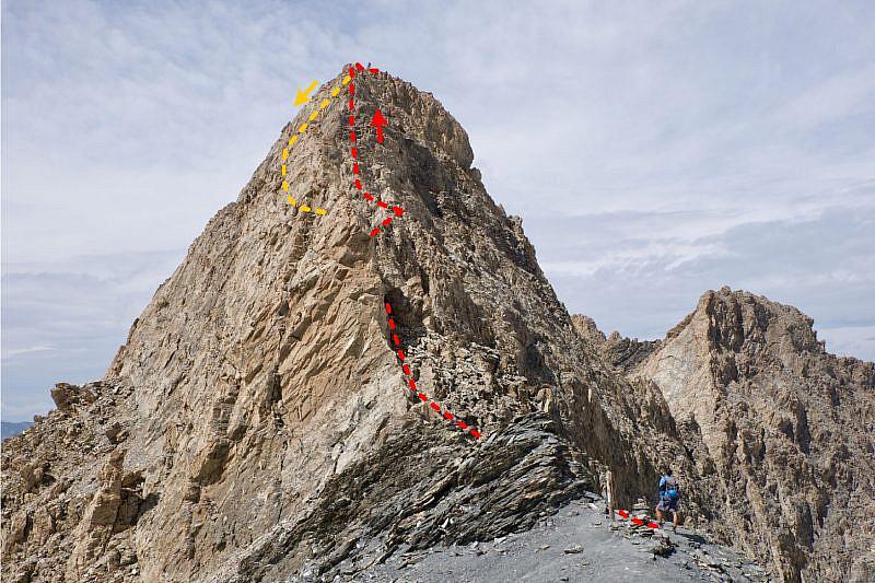Il percorso di salita (rosso) e discesa (arancio) dal Pic d'Asti visto dalla sella