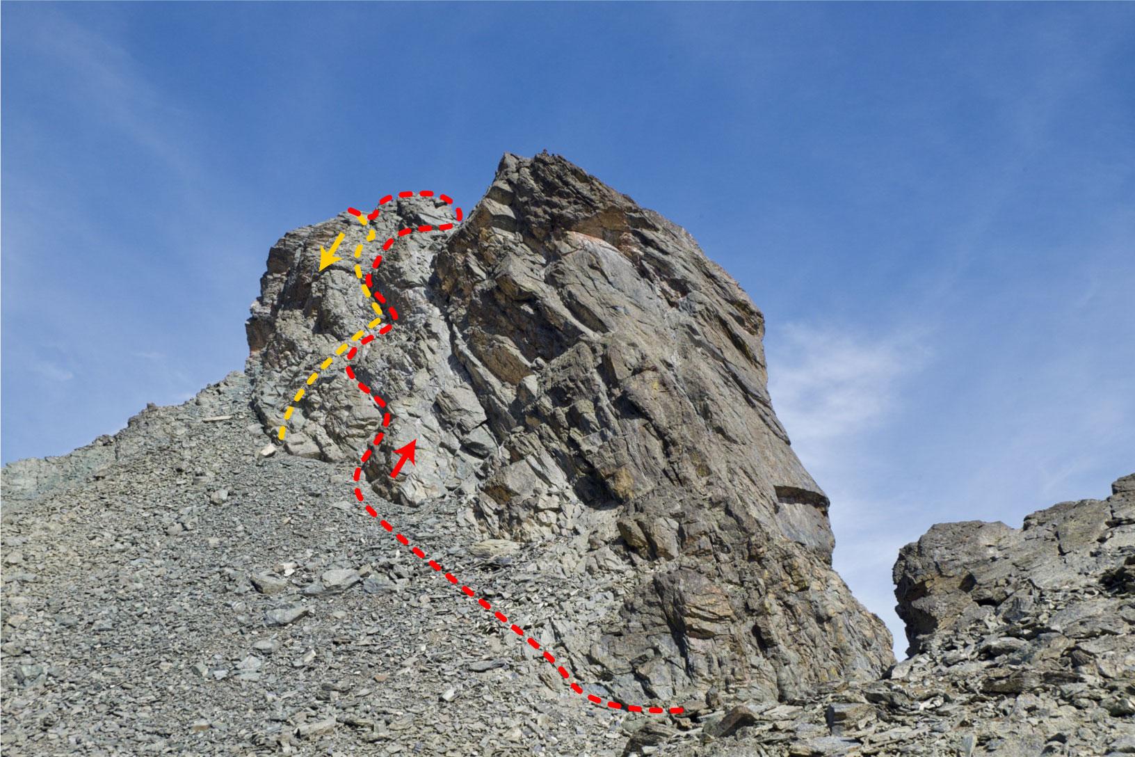Il percorso di salita (rosso) e discesa (arancio) del Roc della Niera visto dal versante francese