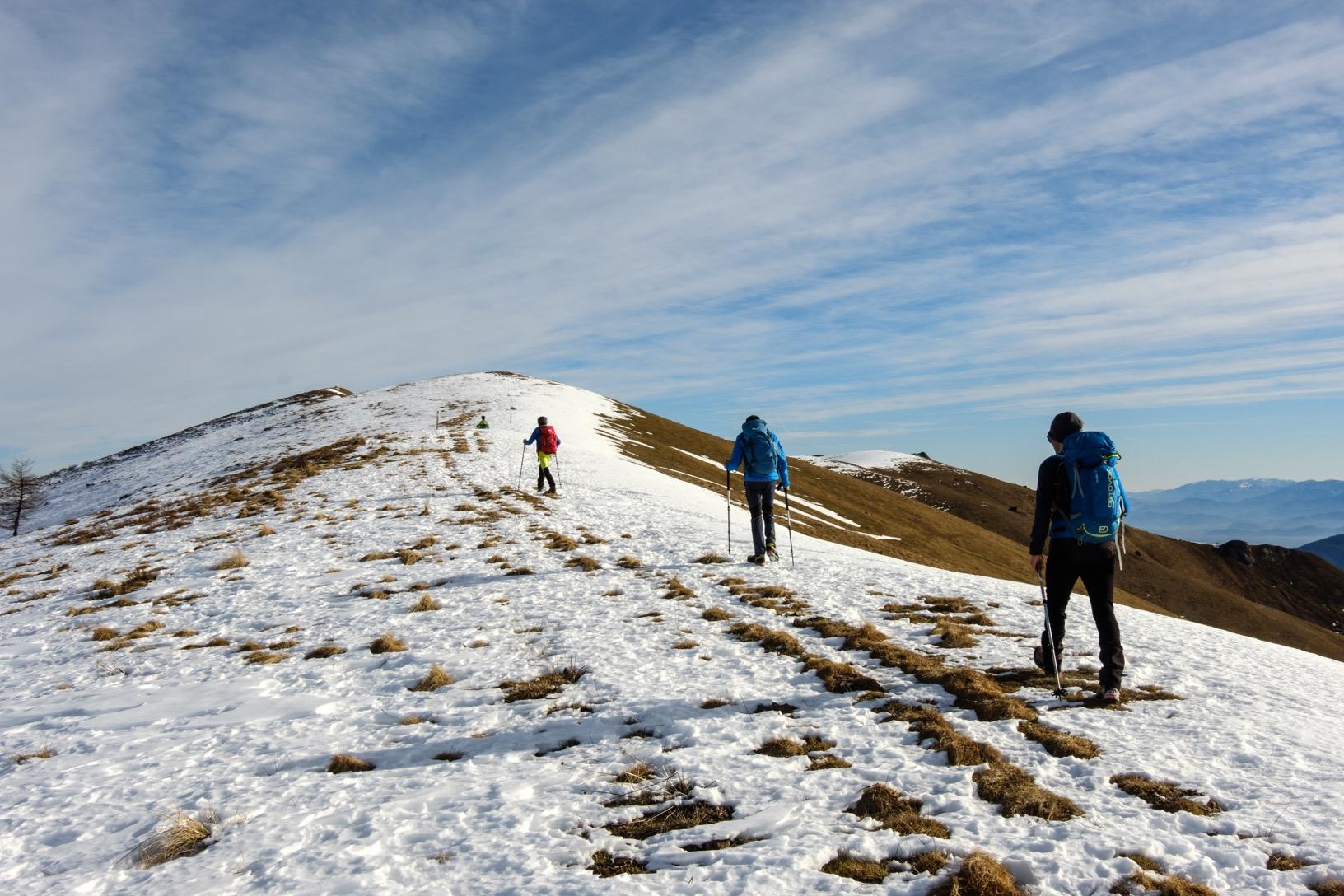 Il tratto di cresta che porta al monte Chialmo (in fondo a sinistra)