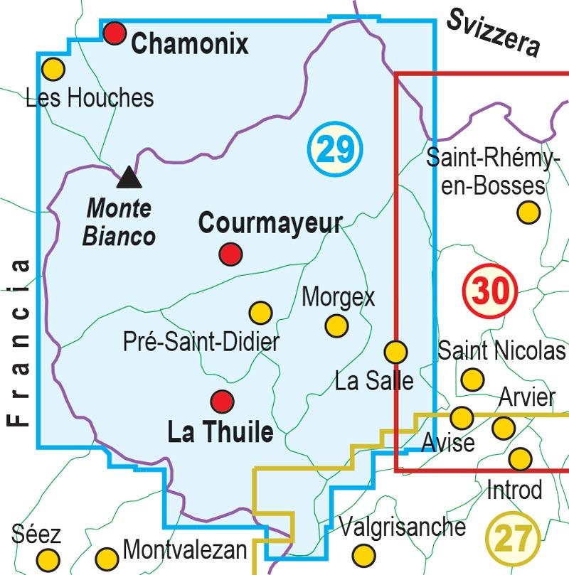 Chamonix Cartina Geografica.Carta 29 Monte Bianco Courmayeur Chamonix La Thuile Cuneotrekking